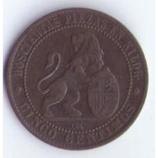 Бельгия 5 сантим 1870г.