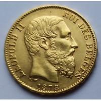 Бельгия 20 франков 1878 г.  6,45 г