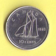 Канада 10 центов 1968-93г.
