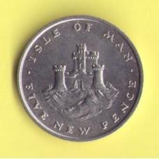 Мэн о-в 5 новых пенсов 1975г.